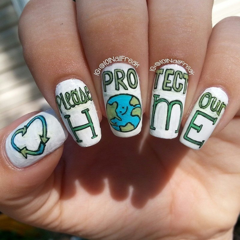 Earth Day nail art by Selena  Lopez