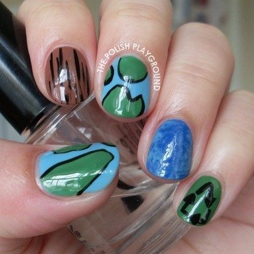 Earth Day Nails nail art by Lisa N