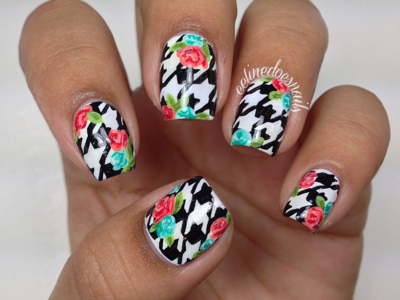 Floral Houndstooth Nail Art nail art by Celine Peña