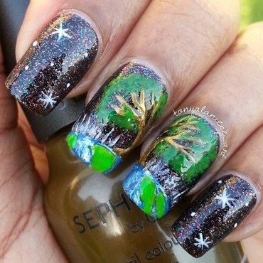 Happy Earth Day! nail art by Tonya