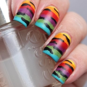 Rainbow animal print nail art by Itssodamnoriginal