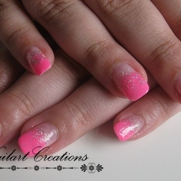 Flashing Pink Glitter nail art by Nailart Creations