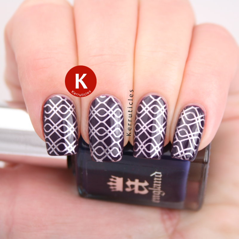 Purple stamped with lilac nail art by Claire Kerr