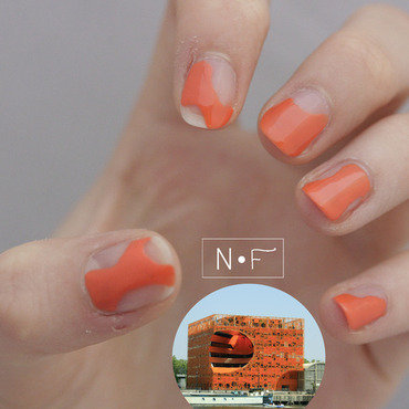 Orange Cube nail art by NerdyFleurty