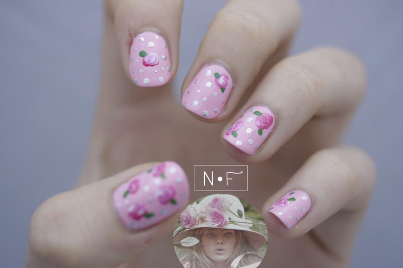 Miss Dior nail art by NerdyFleurty