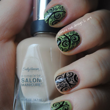 Black stamping over nude colours. nail art by Ditta