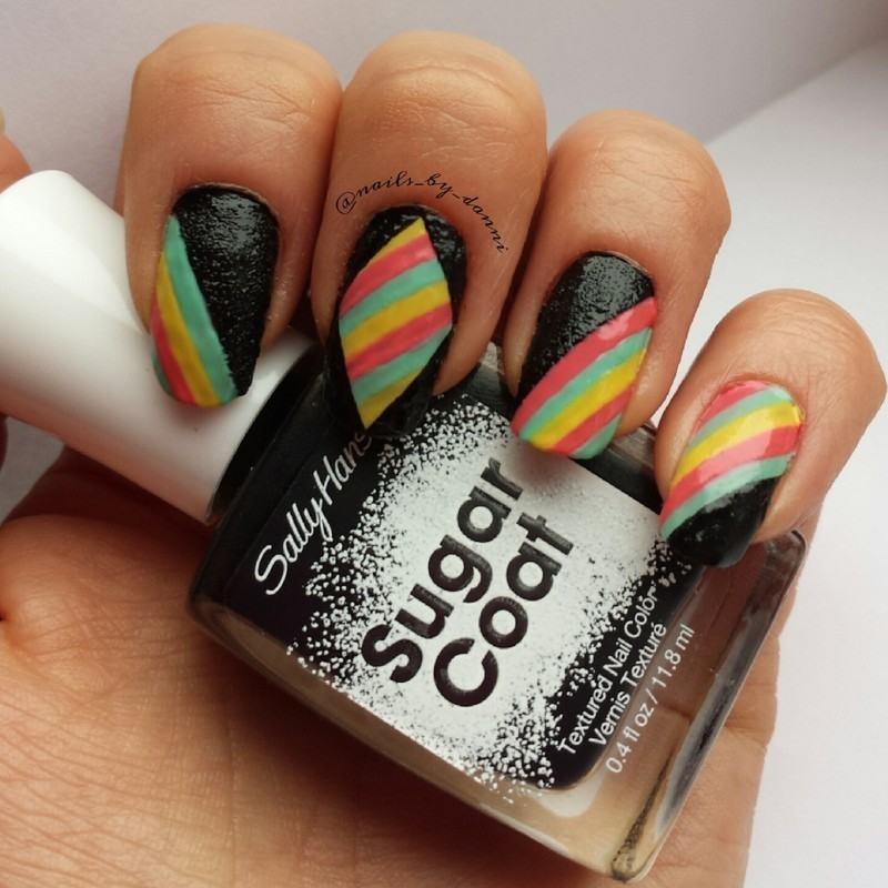 sugar stripes nail art by Danielle  Hails