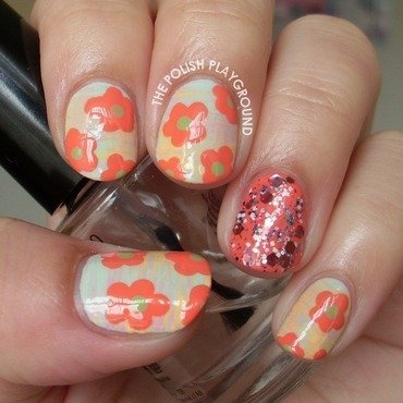 Tropical spring flowers nail art thumb370f