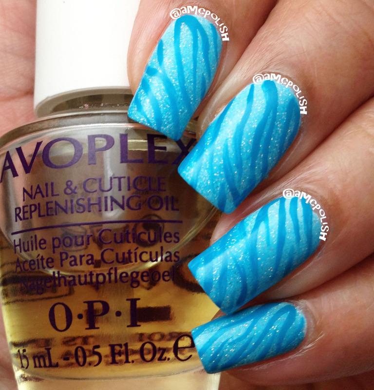 Blue Zebra Stripes nail art by Amber Connor