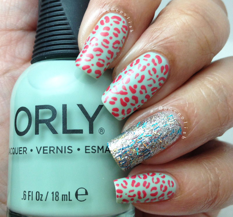 Animal Print and Glitter nail art by Amber Connor