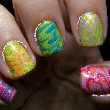 Easter Water Marble... nail art by Samantha Rae