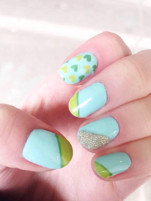 Spring Tips and Hearts + Caviar nail art by Anya Qiu