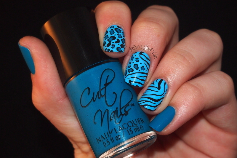 Blue Transitional Animal Print nail art by Kelsie