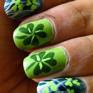 Shamrock/Clover Leaf St.Patricks Day Nail Art nail art by Madhu DenDiva