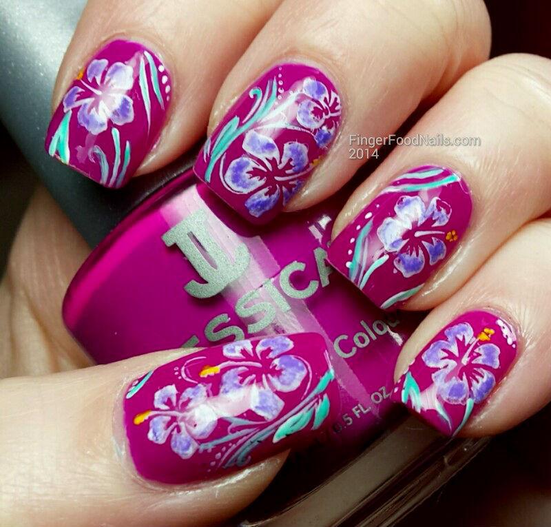 Something Tropical nail art by Sam