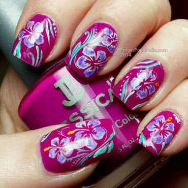 Something Tropical nail art by Sam