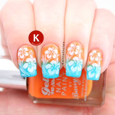 Tropical gradient with Hawaiian stamping nail art by Claire Kerr