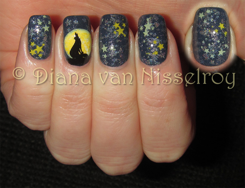 Wolf under the full moon nail art by Diana van Nisselroy - Nailpolis ...