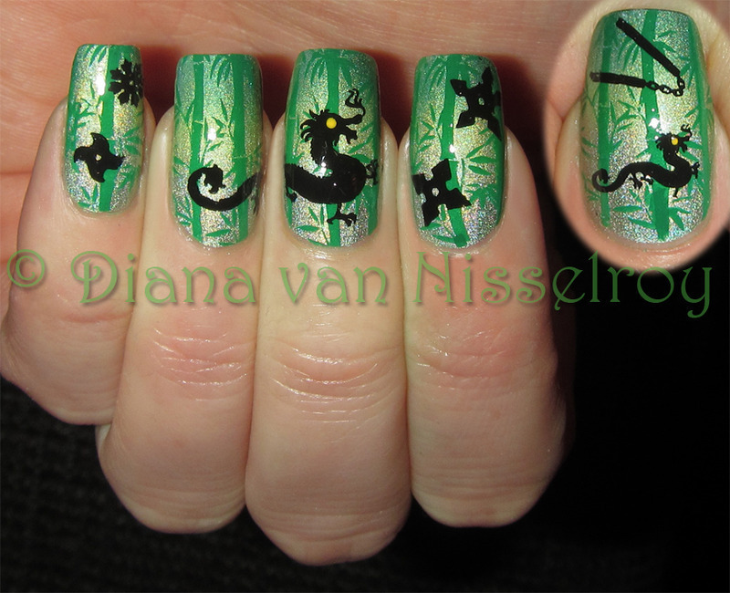 Dragon fighting in the bamboo forest nail art by Diana van Nisselroy - Dragon Fighting In The Bamboo Forest Nail Art By Diana Van Nisselroy