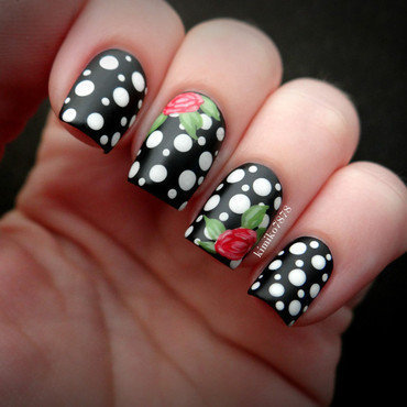 Polka dots with Roses nail art by Kim