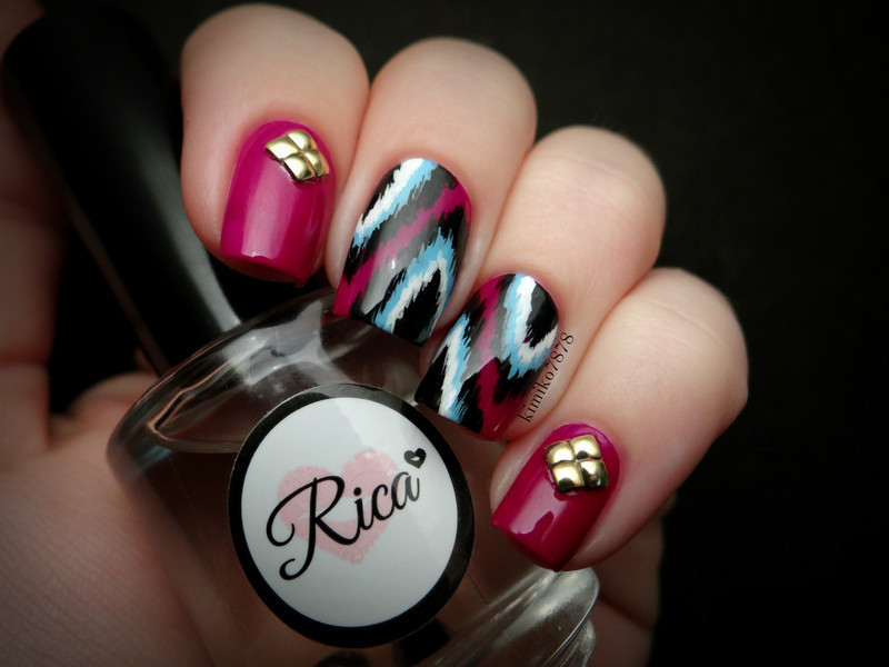 Ikat Nails nail art by Kim