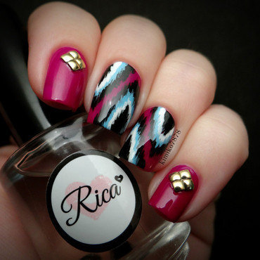 Ikat Nails nail art by Kim