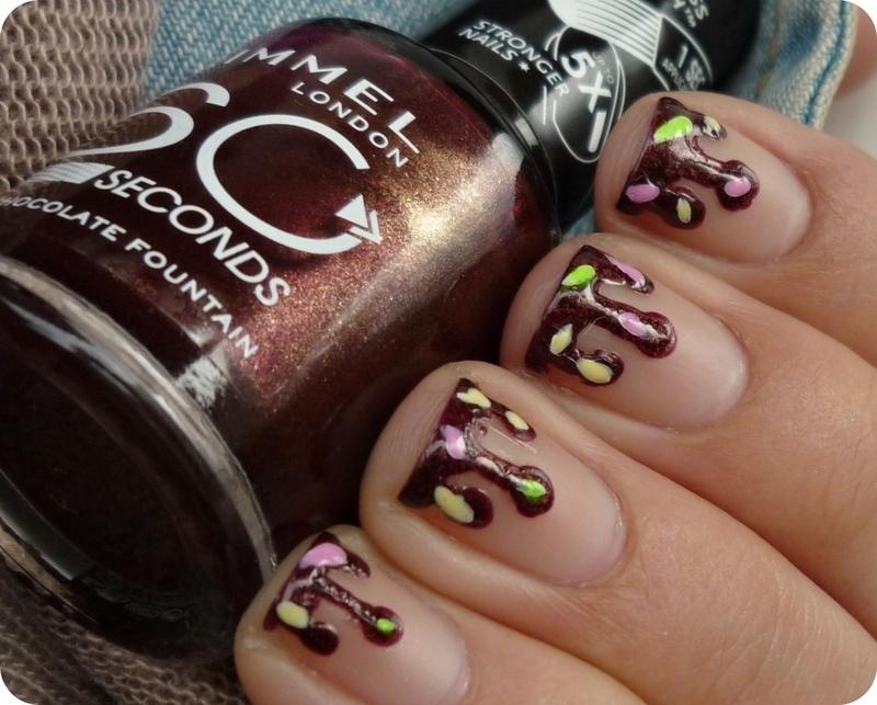 Chocolate Sauce nail art nail art by Romana