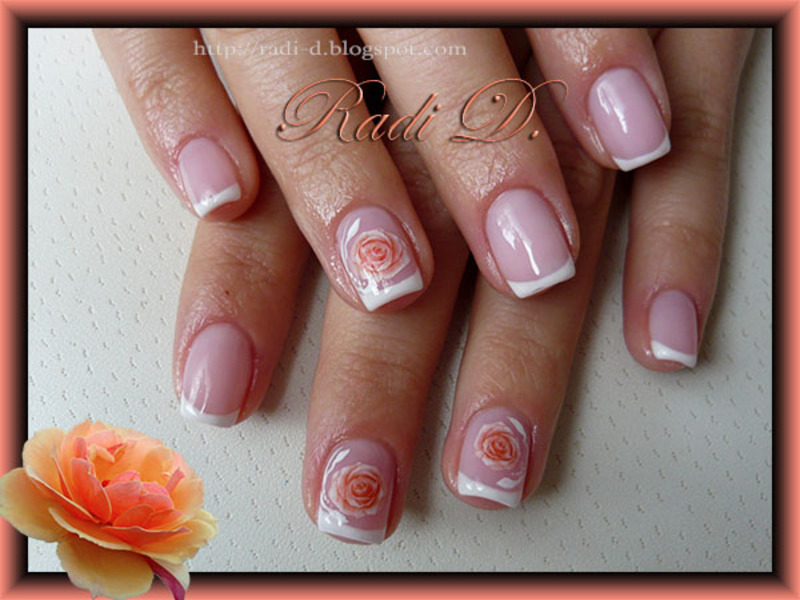 French & Roses nail art by Radi Dimitrova