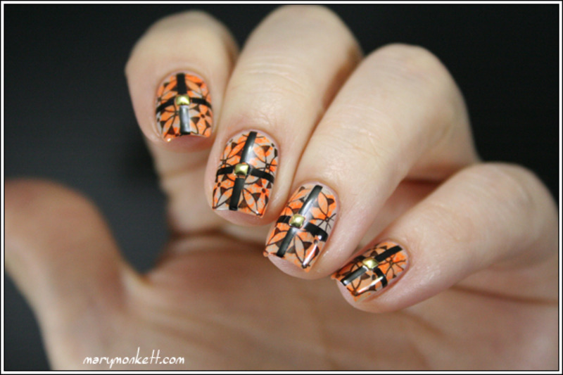 Stamping, strip et neonitude nail art by Mary Monkett