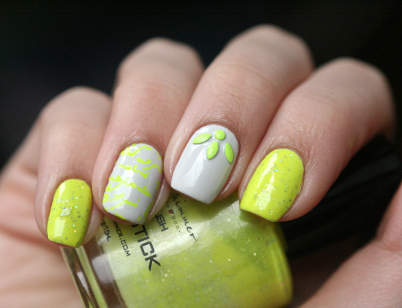 Neon inspired nail art by Maria