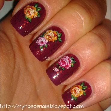Vintage floral nail art by Ewa