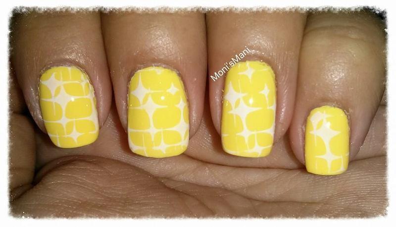 canary island starred nail art by Moni'sMani