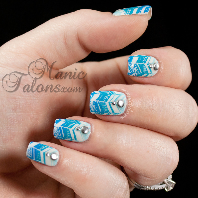 Gradient Stamped with Messy Mansion nail art by ManicTalons