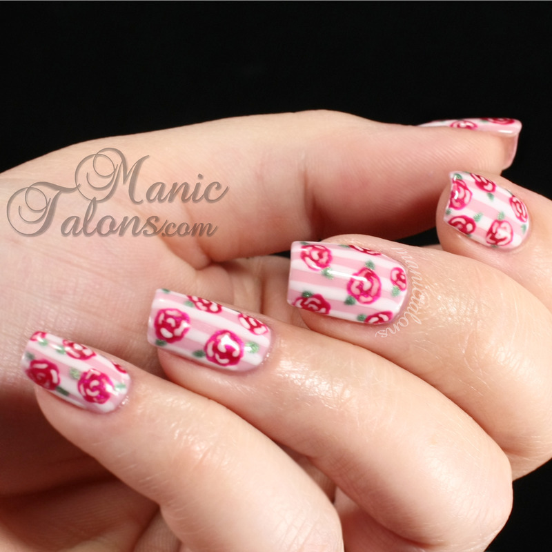 Stripes and Roses with IBD nail art by ManicTalons