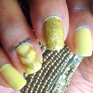 Canary and Gold Chevron nail art by Roni