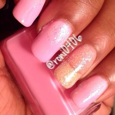 Tickled Pink Waterfall nail art by Roni
