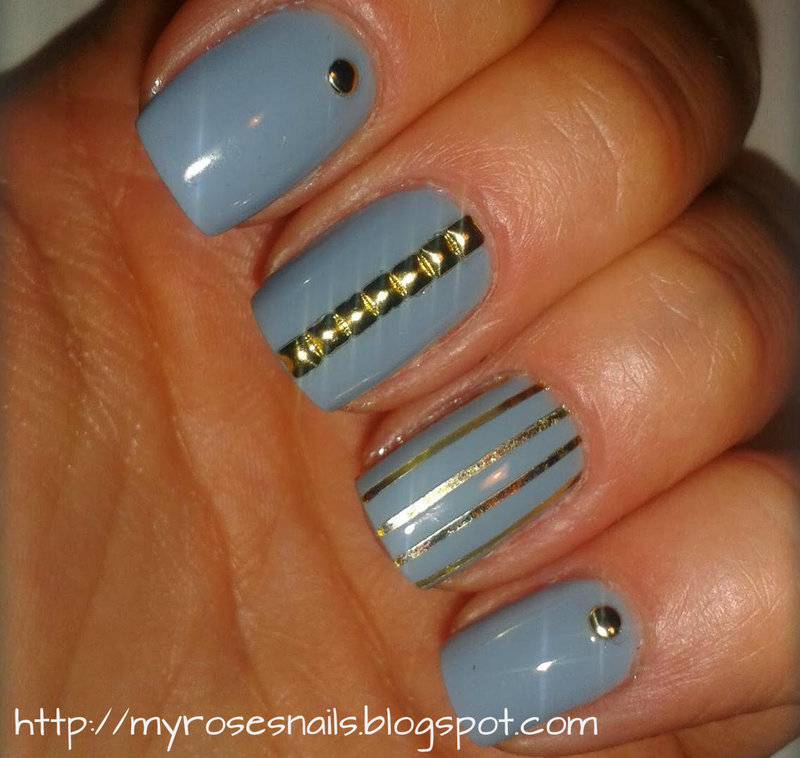 Mix with gold nail art by Ewa