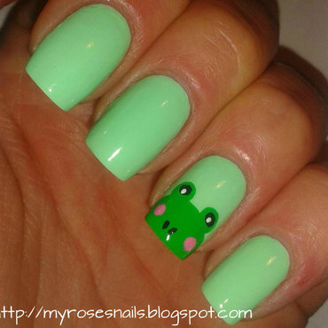 Little green frog nail art by Ewa