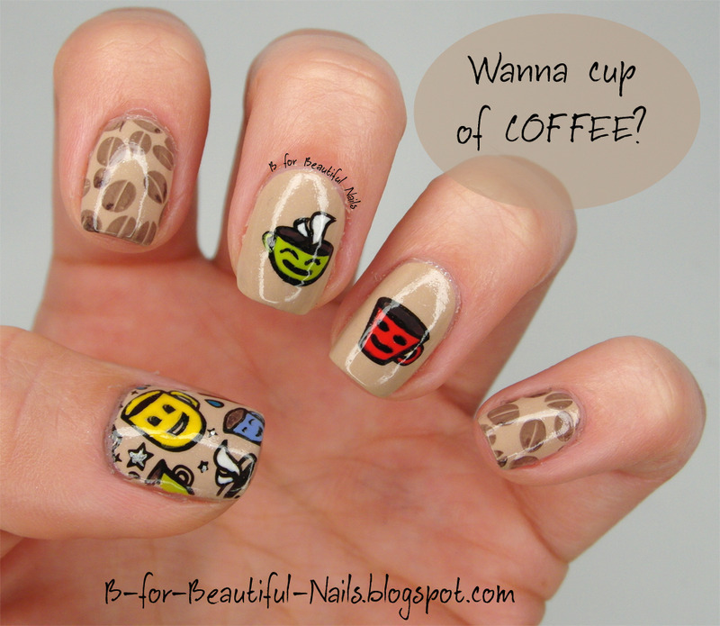 Sweet cup of coffee ♥ nail art by B.