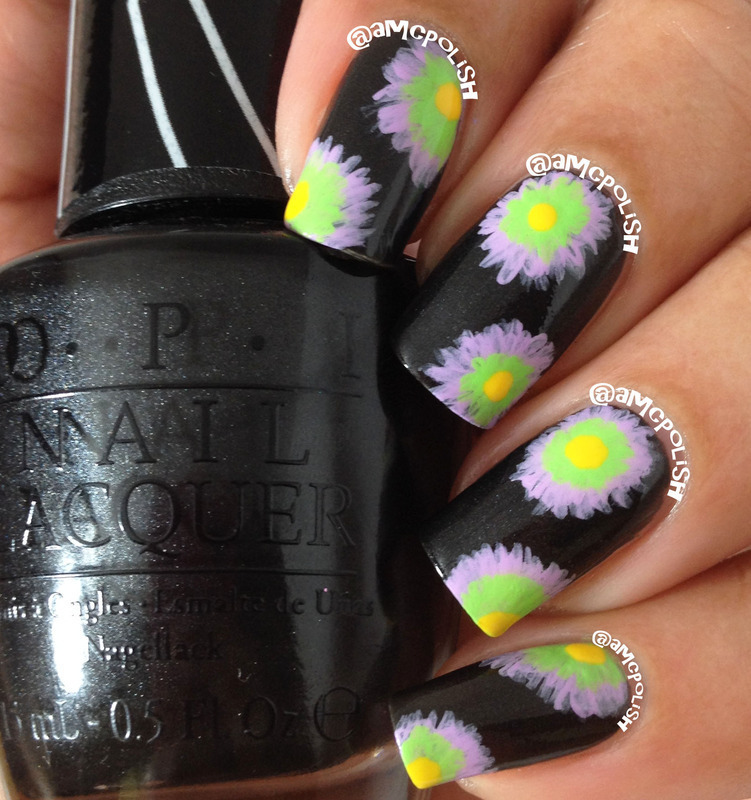 Funky Floral nail art by Amber Connor