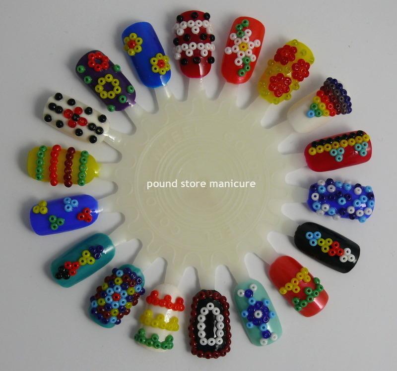 Beaded Tribal Nail Art Wheel nail art by Pound Store Manicure