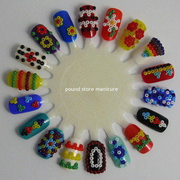 Beaded Tribal Nail Art Wheel nail art by Pound Store Manicure
