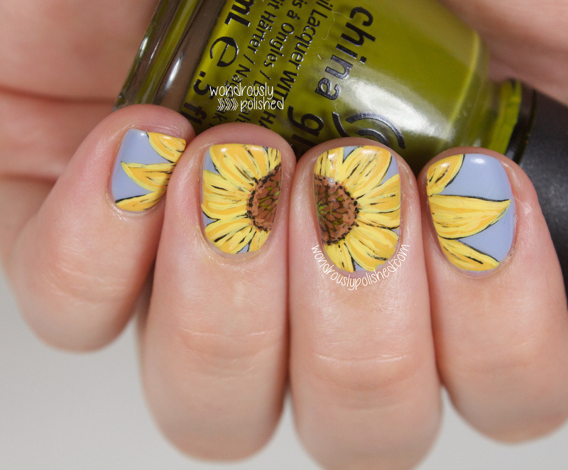 Sunflower Hand Painted Nail Art Nail Art By Lindsey W Nailpolis
