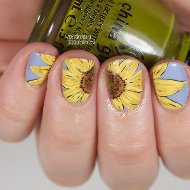 Wondrously polished the digital dozen does texture sunflower nail art 4 thumb370f