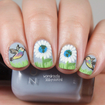 Wondrously polished earth day nail art floral hummingbird 2 thumb370f