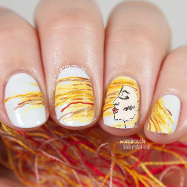Wondrously polished the digital dozen does texture girl in the wind hair blowing in the wind mixed media abstract nail art 2 thumb370f
