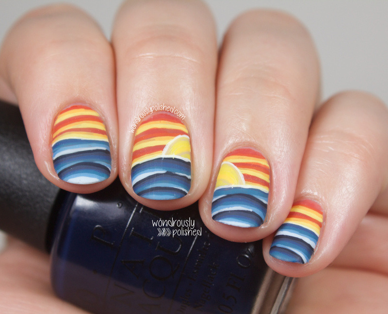 Warm vs. Cool - ocean and sky nail art by Lindsey W