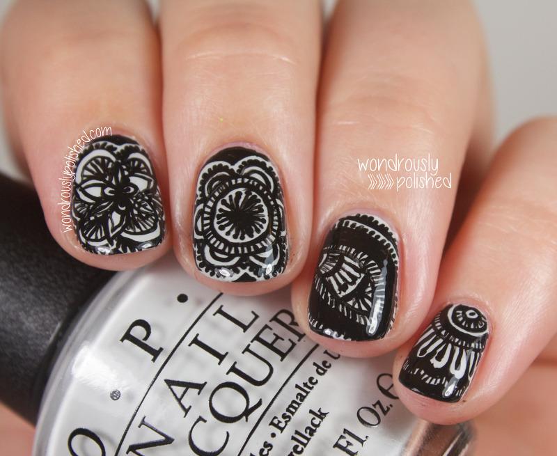 Achromatic Mandalas nail art by Lindsey W