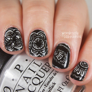 Wondrously polished nail art a go go challenge achromatic nail art mandala henna design 5 thumb370f