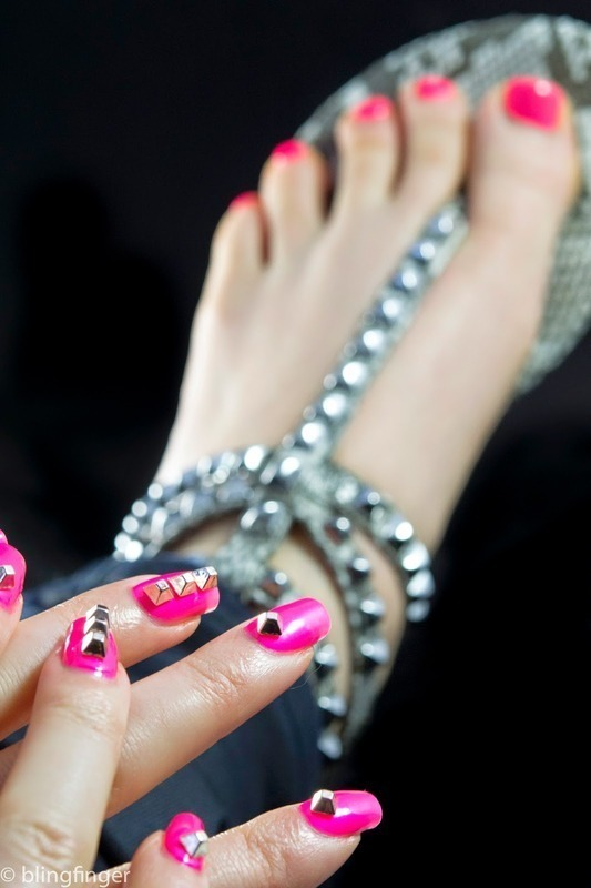Studded shoes and nails nail art by  Petra  - Blingfinger